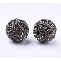 Black Diamond Rhinestone Pave Clay Beads, 12mm Round, Pack of 5