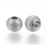 8mm Round Stardust Beads, Stainless Steel, Pack of 10