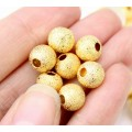 8mm Round Premium Stardust Beads, Gold Plated, Pack of 20