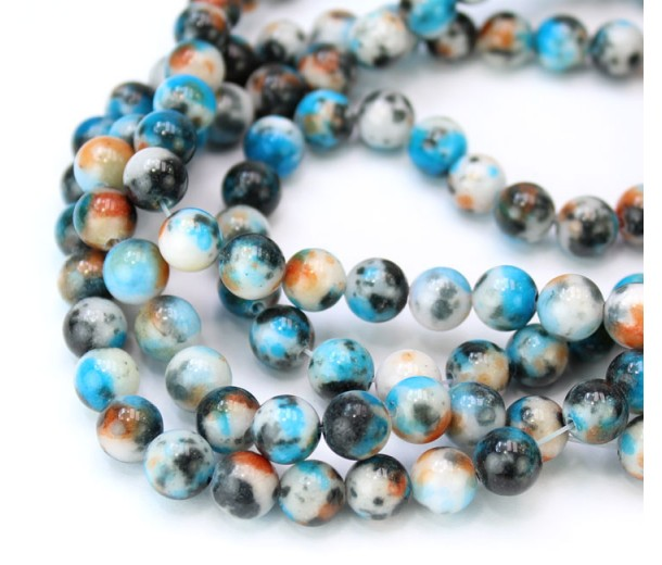 Light Blue and Grey Multicolor Jade Beads, 8mm Round