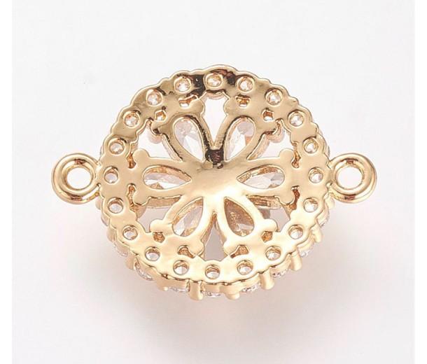 21mm Floral Rhinestone Link, Gold Tone, 1 Piece