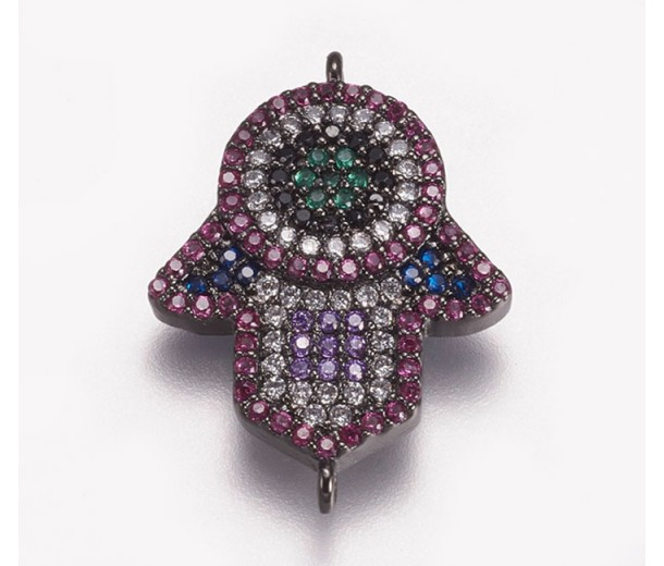 1 Inch Hamsa Hand Multicolor Cubic Zirconia Connector, Gunmetal, 1 Piece