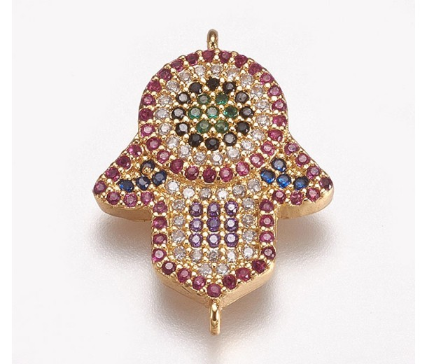1 Inch Hamsa Hand Multicolor Cubic Zirconia Connector, Gold Tone, 1 Piece