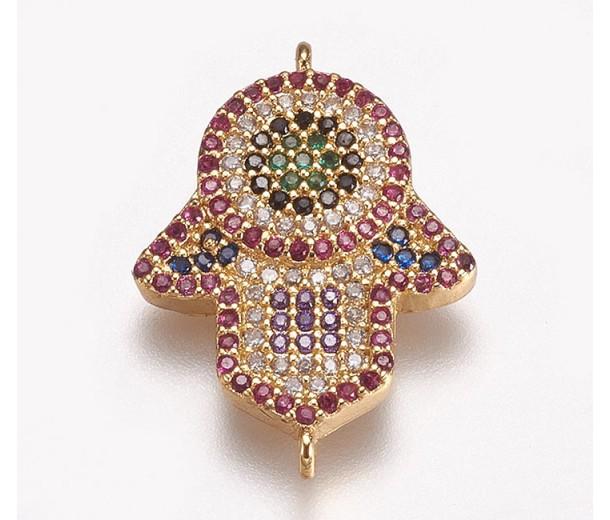 1 Inch Hamsa Hand Multicolor Cubic Zirconia Connector, Gold Tone, 1 Piece
