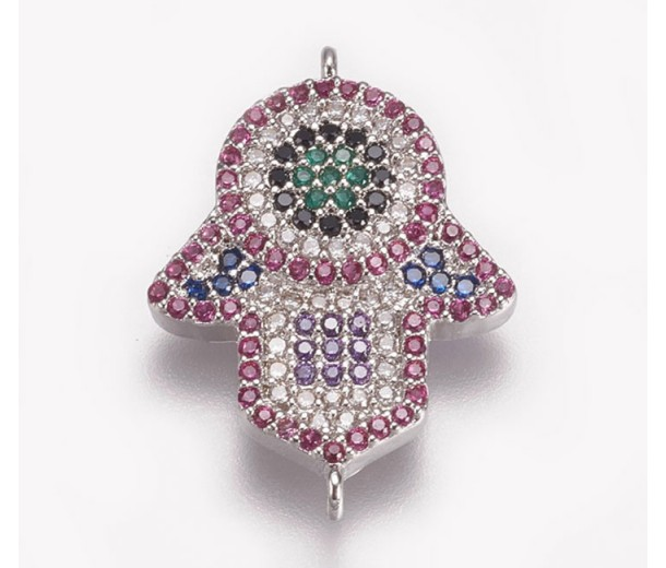 1 Inch Hamsa Hand Multicolor Cubic Zirconia Connector, Rhodium Plated, 1 Piece