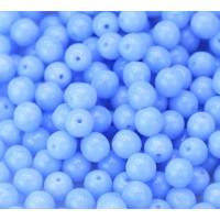 Milky Light Sapphire Czech Glass Beads, 6mm Round, 2.75 Inch Tube