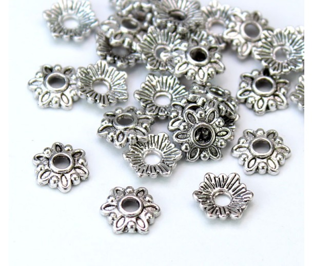 7mm Floral Round Bead Caps, Antique Silver, Pack of 20