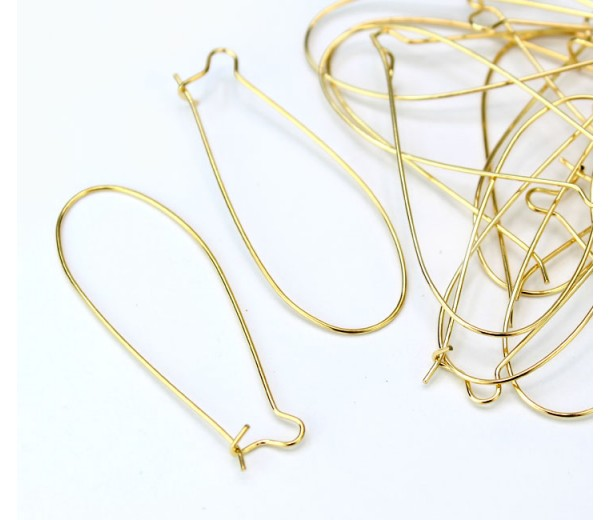 45mm Kidney Ear Wires, Gold Tone, Pack of 20