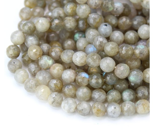 Labradorite Beads, Natural Beige, 6mm Faceted Round