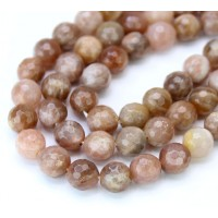 Sunstone Beads, Rose Brown, 8mm Faceted Round