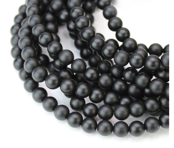 Black Agate Beads, Semi-Matte, 6mm Round