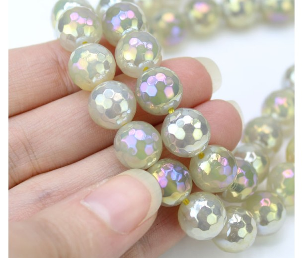 Agate Beads, Smoke Grey AB, 10mm Faceted Round