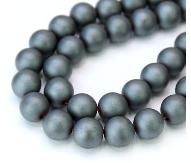 Hematite Beads, Matte Dark Grey, 10mm Round