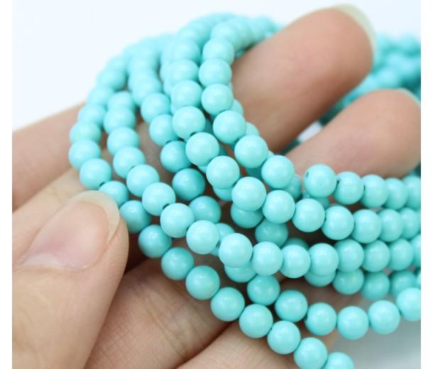 Imitation Turquoise Beads, Light Blue, 4mm Round