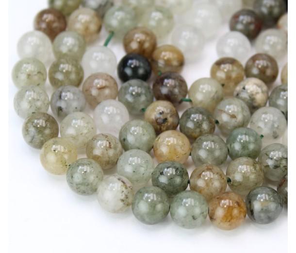 Lodolite Quartz Beads, Natural Green, 8mm Round
