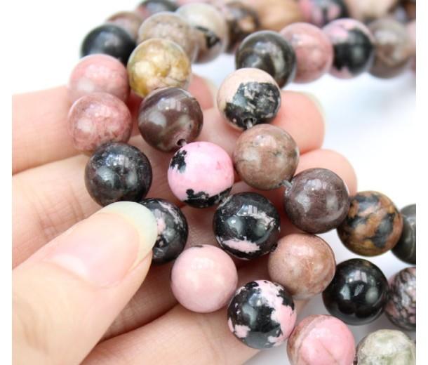 Black Veined Rhodonite Beads, 10mm Round