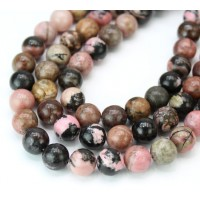 Black Veined Rhodonite Beads, 8mm Round