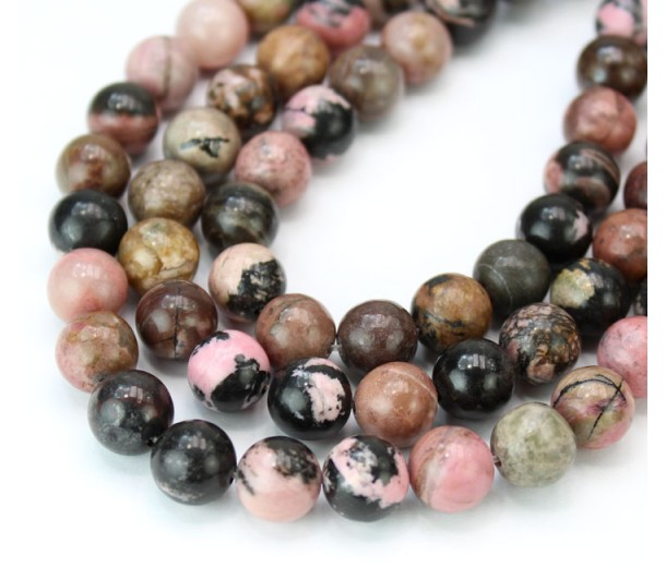 Black Veined Rhodonite Beads, 10mm Round