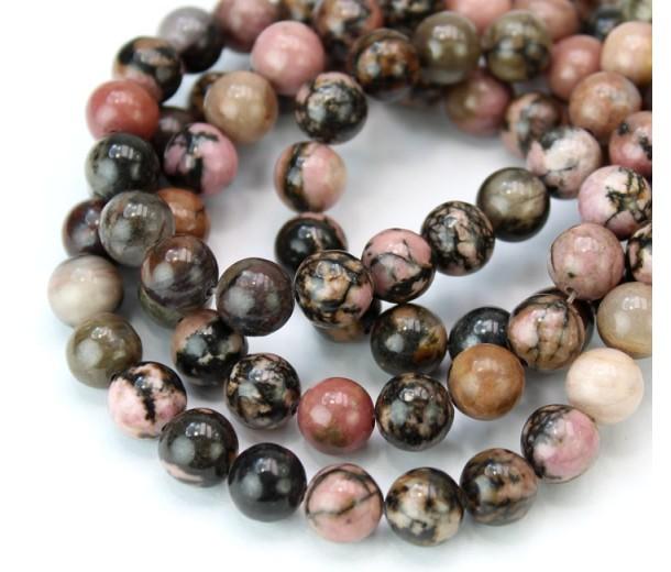 Black Veined Rhodonite Beads, 8mm Round