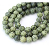 -Russian Serpentine Beads, Light Green, 8mm Round