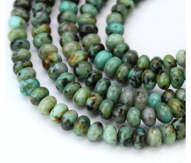 African Turquoise Beads, Natural, 6x4mm Smooth Rondelle