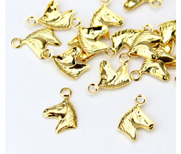 9mm Tiny Horse Head Charms, Gold Plated, Pack of 20