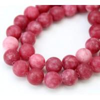 Dark Pink Matte Jade Beads, 10mm Round