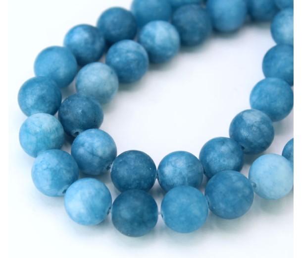 Denim Blue Matte Jade Beads, 10mm Round