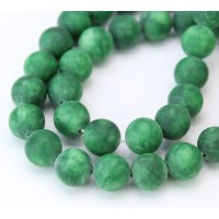 Dark Green Matte Jade Beads, 10mm Round