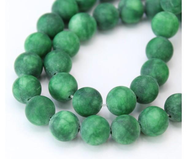 Dark Green Matte Jade Beads, 10mm Round