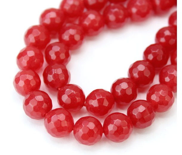 Milky Red Candy Jade Beads, 10mm Faceted Round