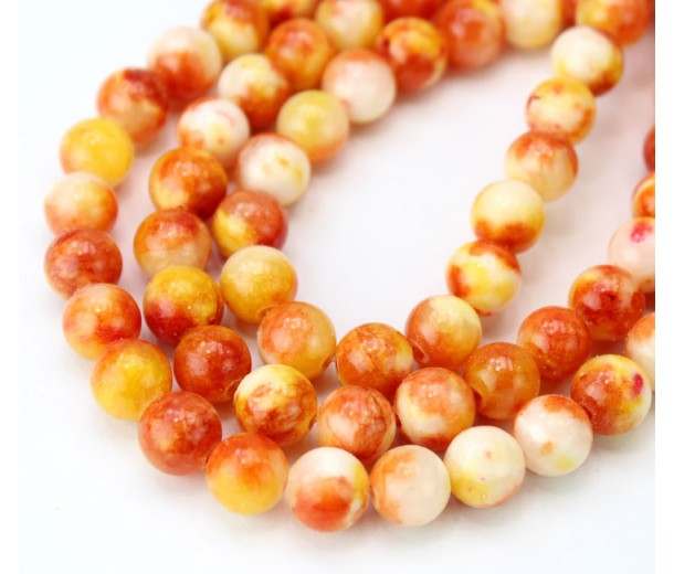 Orange and Yellow Mix Multicolor Jade Beads, 8mm Round