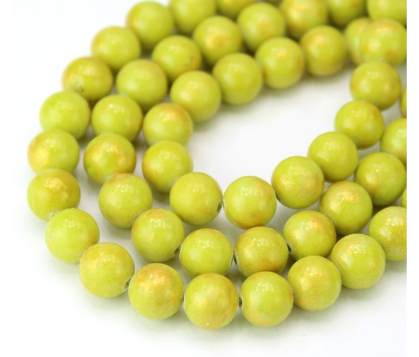 Light Yellowgreen with Gold Paint Mountain Jade Beads, 8mm Round
