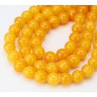 Honey Yellow Mountain Jade Beads, 8mm Round