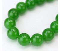 Grass Green Semi-Transparent Jade Beads, 10mm Round