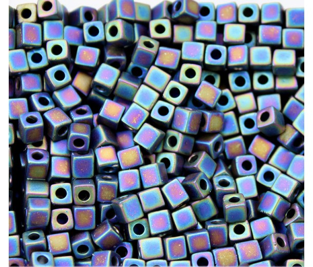 4mm Miyuki Square Beads, Matte Rainbow Black, 10 Gram Bag