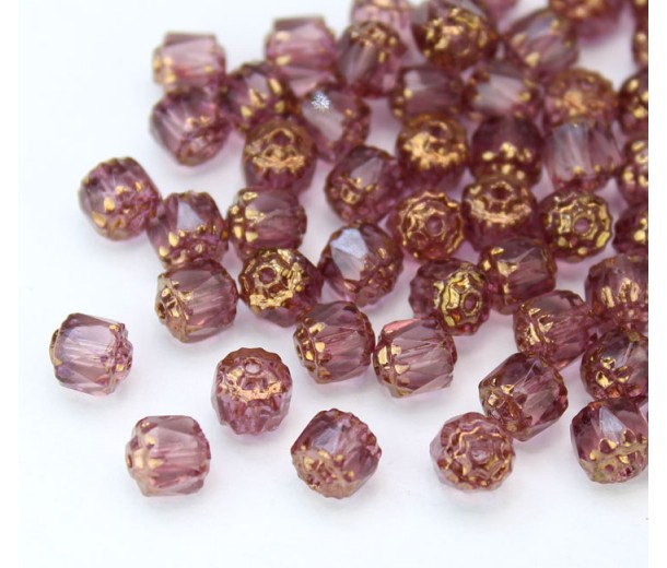 Amethyst Purple Picasso Czech Glass Beads, 6mm Renaissance, Pack of 25