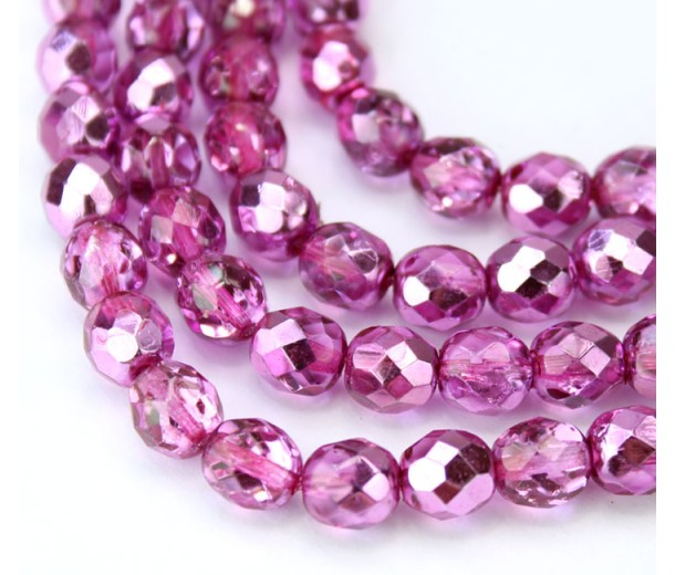 Half Plated Orchid Pink Czech Glass Beads, 8mm Faceted Round, 7 inch Strand