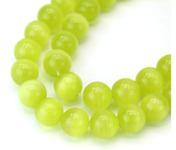 Chartreuse Cat Eye Glass Beads, 10mm Smooth Round