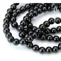 Jet Black Glass Beads, 6mm Smooth Round