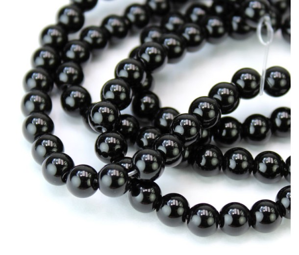 Jet Black Glass Beads, 6mm Smooth Round