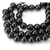 Jet Black Glass Beads, 8mm Smooth Round