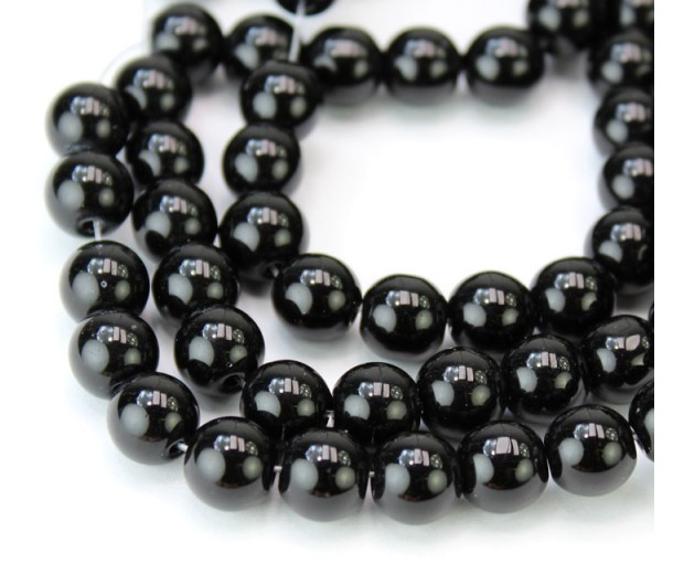 Jet Black Glass Beads, 8mm Smooth Round