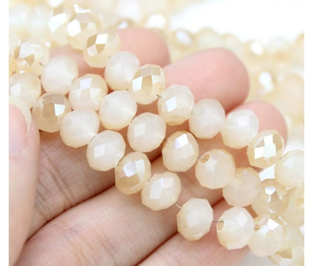 Light Peach Half Plated Glass Beads, 8x6mm Faceted Rondelle