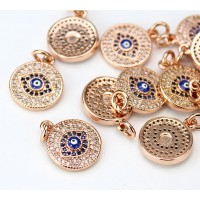 13mm Blue Evil Eye Cubic Zirconia Charm, Rose Gold Tone