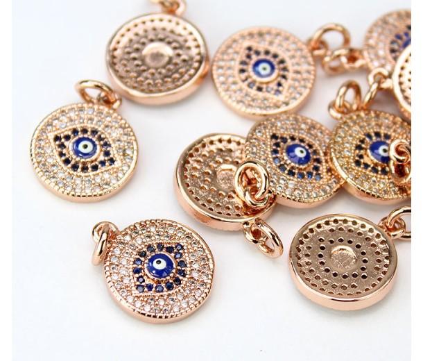 13mm Blue Evil Eye Cubic Zirconia Charm, Rose Gold Tone