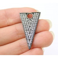 27mm Triangle Cubic Zirconia Pendant, Gunmetal