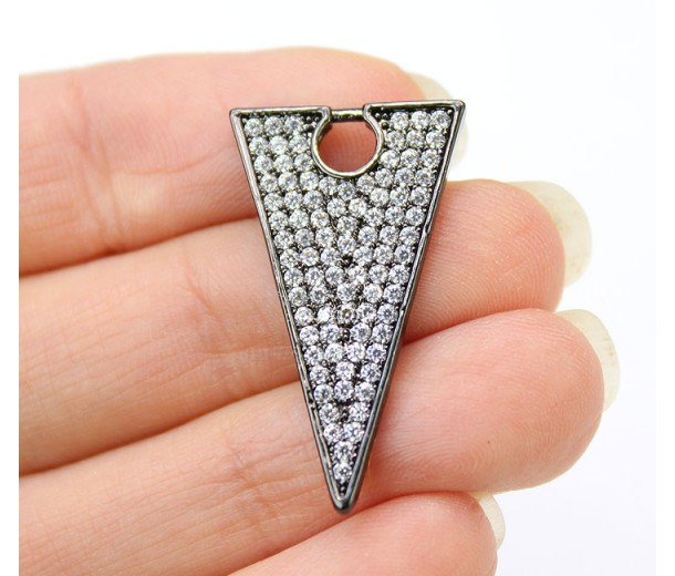 27mm Triangle Cubic Zirconia Pendant, Gunmetal