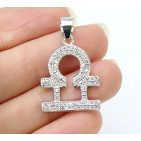 22mm Libra Zodiac Sign Cubic Zirconia Pendant, Rhodium