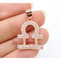 22mm Libra Zodiac Sign Cubic Zirconia Pendant, Rose Gold Tone